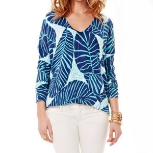 Lilly Pulitzer Beneath The palms Blue Sweater M